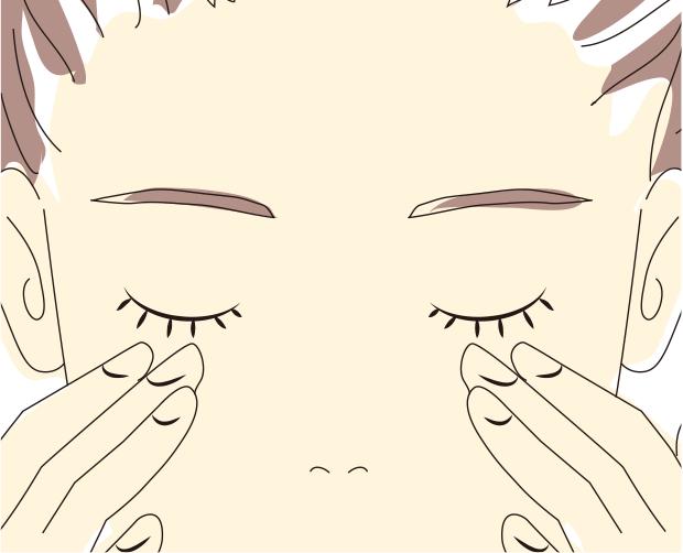 ③目の周りを中指で軽くおさえるようにやさしくマッサ ージしてください。